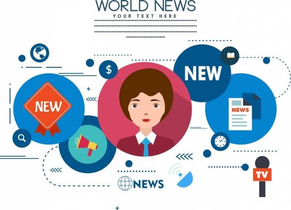 media news design elements colored flat symbols