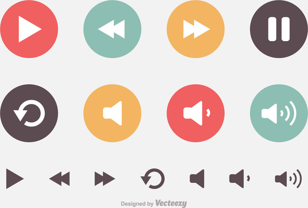 Media player buttons Free vector in Encapsulated PostScript