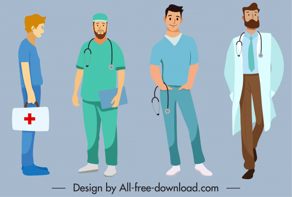medic occupation icons men sketch colored cartoon characters