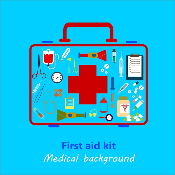 Medical background design with colored first aid kit Free vector in