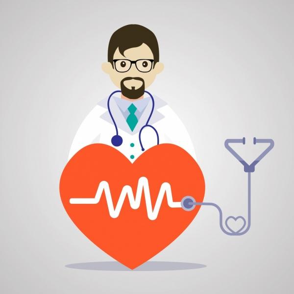 medical background doctor heart cardiogram decor