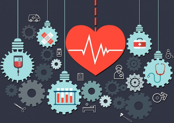 medical background heart gears lightbulbs icons tools symbols
