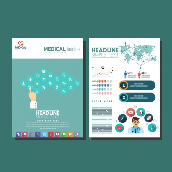 medical brochure templates bright colorful modern design