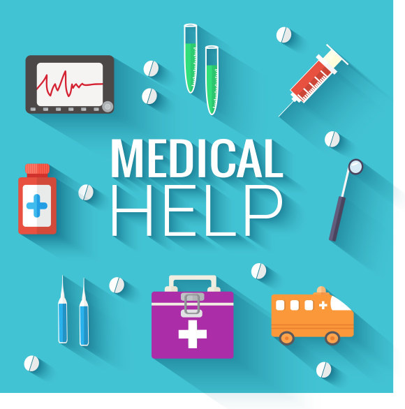medical help flat icons vector