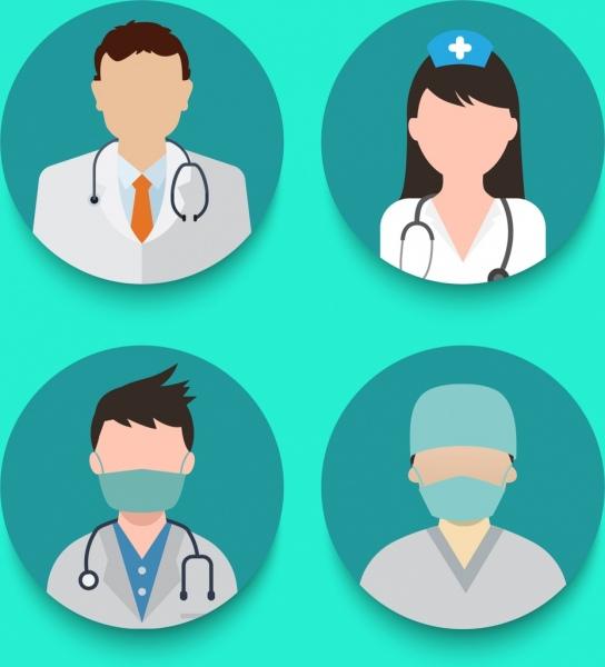 medical icons isolation various uniform design