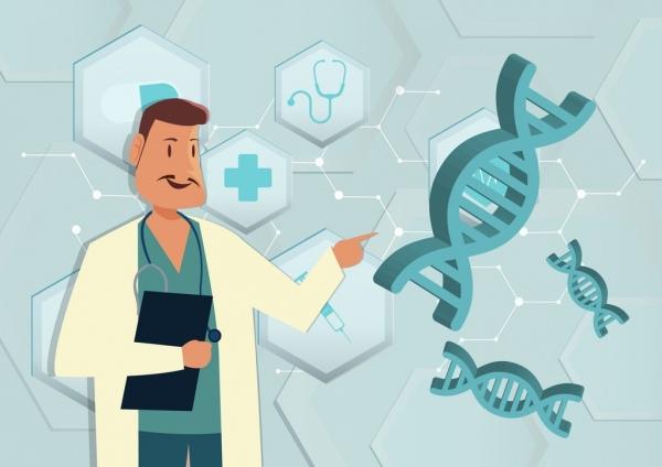 medical presentation cartoon design 3d molecule background free