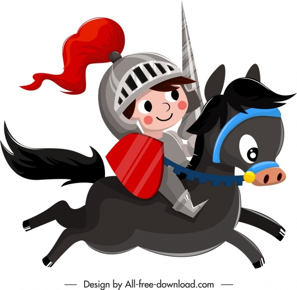 medieval knight icon cute cartoon character sketch