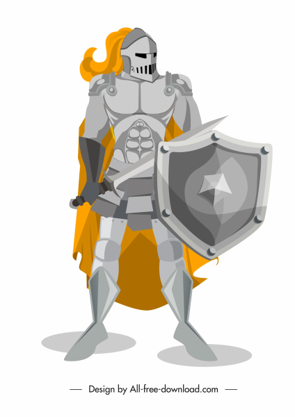 medieval knight icon metallic armor sketch shiny classical
