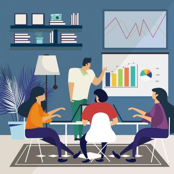 Meeting background staffs team chart icons cartoon sketch Free
