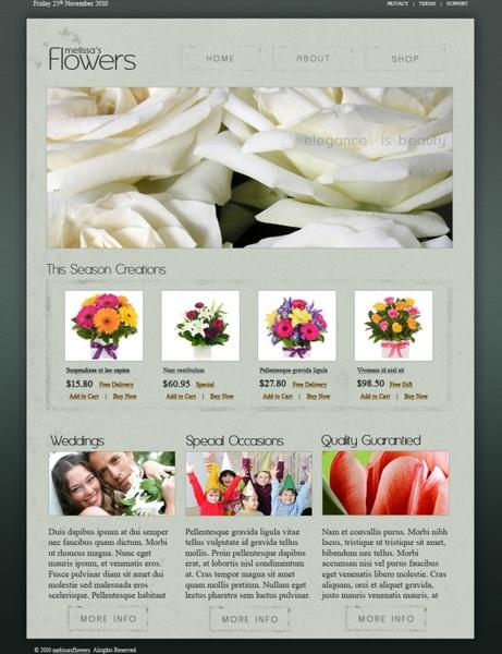 Melissas Flowers – Free PSD Template