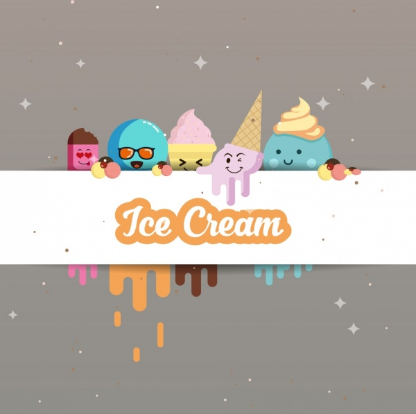 melting ice cream background cute stylized icons