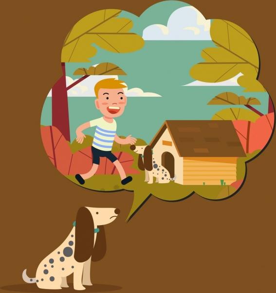 memory background dog speech bubble boy icons decor