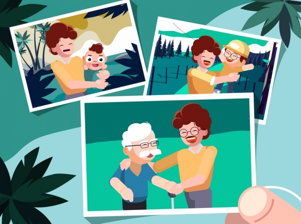 memory background family pictures icons cartoon characters
