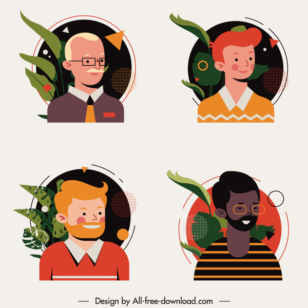 men avatars icons colored cartoon characters sketch