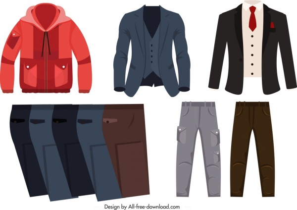 men outfits icons coat shirt trousers sketch