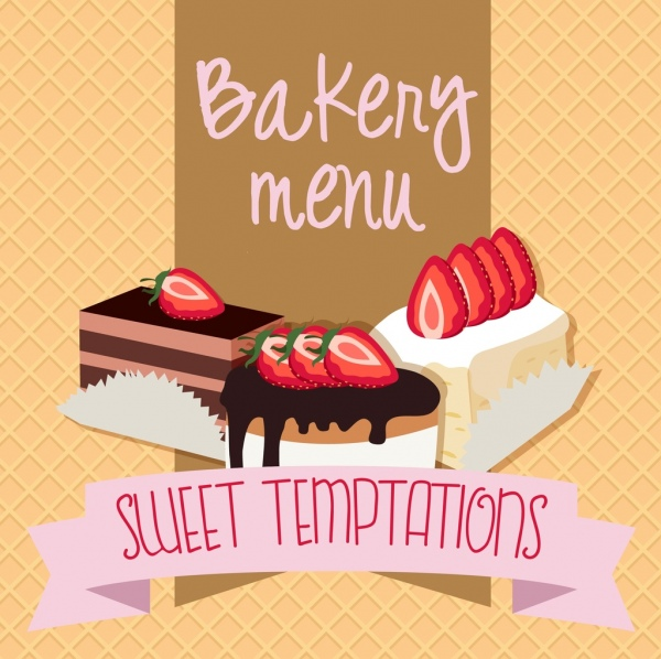 menu cover background 3d strawberry cream cake design