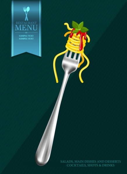 menu cover background fork noodles icons decor