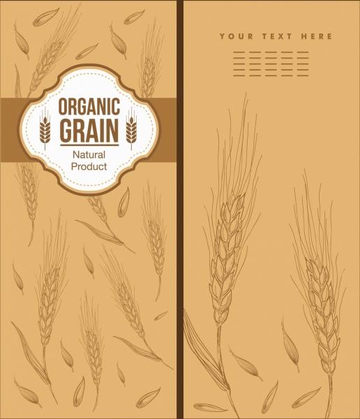 menu cover template barley icons handdrawn sketch