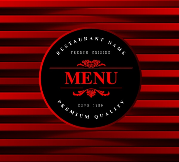 Menu Cover Template Red Stripes Round Decoration