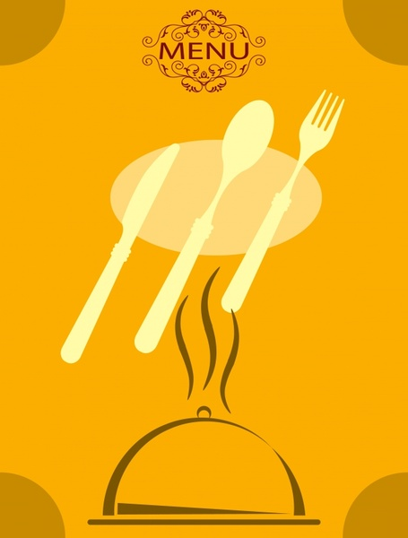 menu cover background dishware icon classical flat sketch