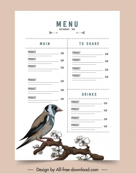 menu template bright design elegant bird flora decor