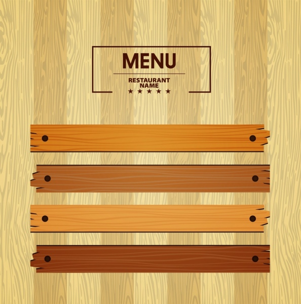 menu template bright wooden pattern decoration free vector in adobe