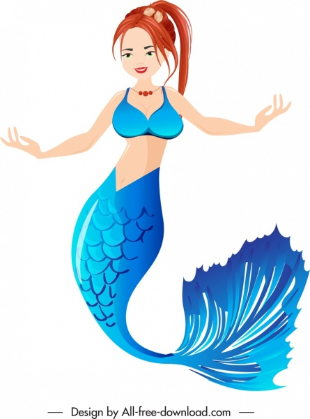 mermaid icon colorful cartoon character sketch