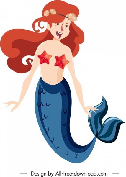 mermaid icon cute smiling girl sketch cartoon character