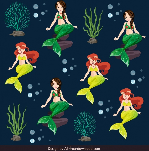 mermaids pattern template cartoon characters sketch repeating design