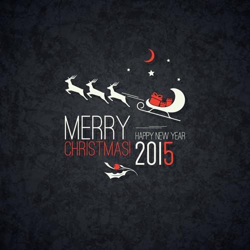 merry christmas and15 new year dark background
