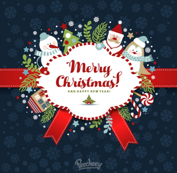 Merry christmas and happy new year best wishes illustration Free ...