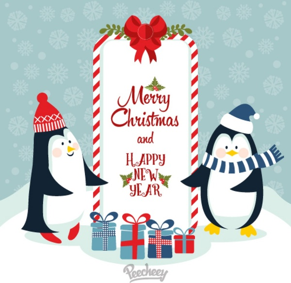Merry christmas and happy new year with cute penguins Free vector in ...
