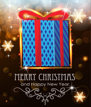 merry christmas and new year greeting cards vectors