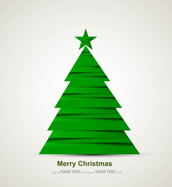 Christmas Tree Cards Designs.Merry Christmas Tree Celebration Bright Colorful Card Design