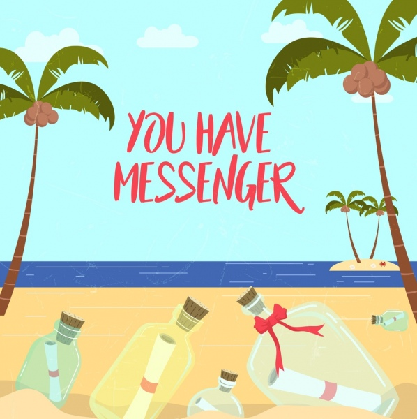 message bottles drawing seascape coconut trees decor
