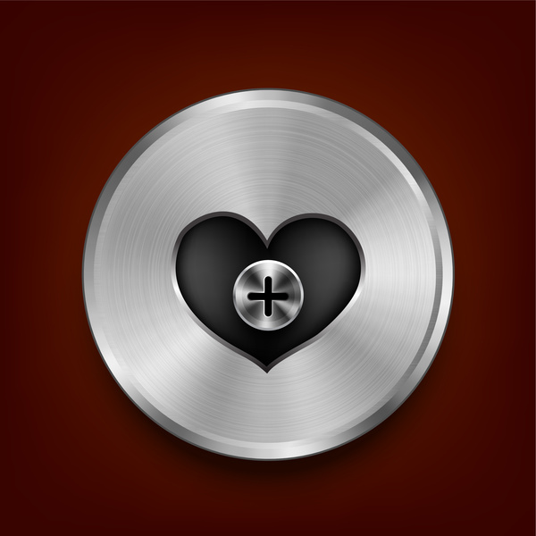 metal heart button