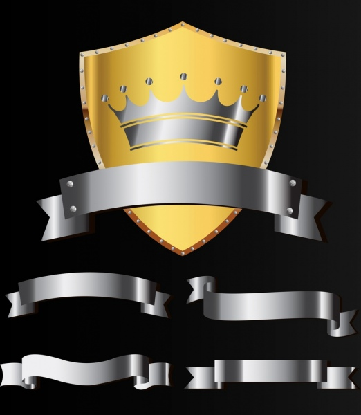 metal icons design elements shield crown ribbon emblems