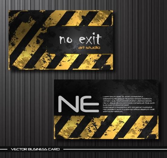 business card templates retro grunge yellow stripes decor