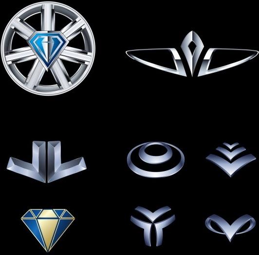 logo icons collection shiny metallic style