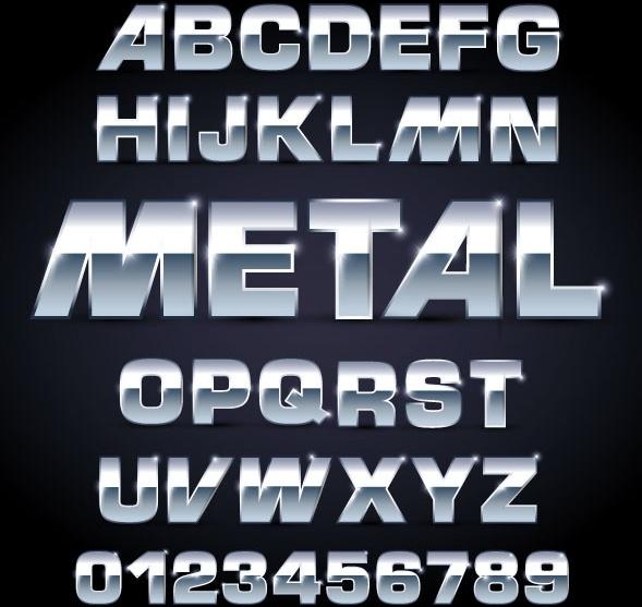 metal texture font design 01 vector