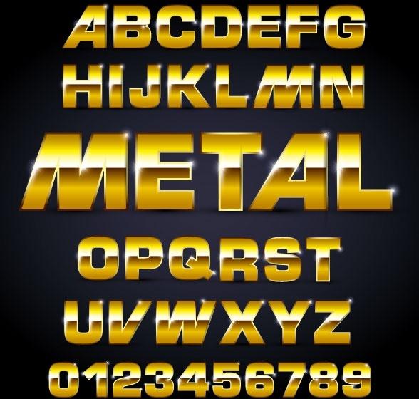 metal texture font design 02 vector