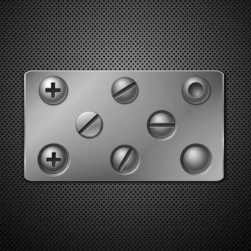 metallic backgrounds with screws vector