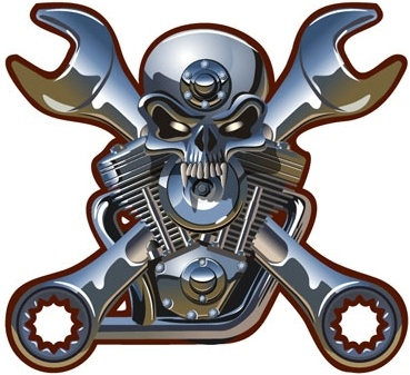 metallic skull vector