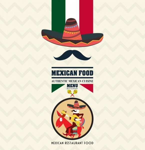 mexican food advertisement flag sombrero traditional man icons