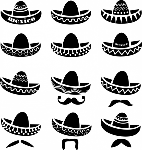 mexican sombrero hat with moustache free vector in adobe mustache clip art free moustache clipart