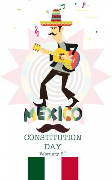 mexico constitution day banner male guitarist icon decor