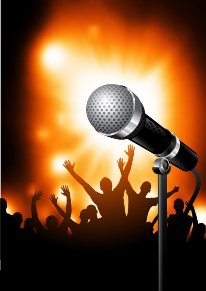 music background realistic microphone silhouette audience icons