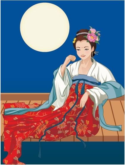 mid autumn background fairy moon icons cartoon design