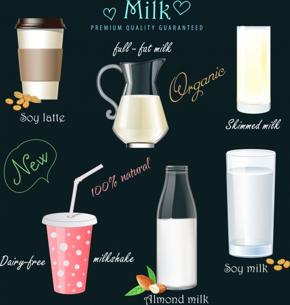 milk beverages advertising glass pot icons decor