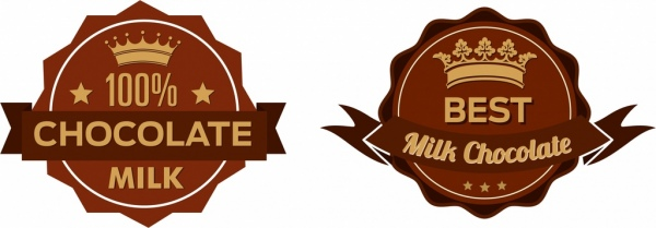 milk chocolate warranty badge icons classical brown design